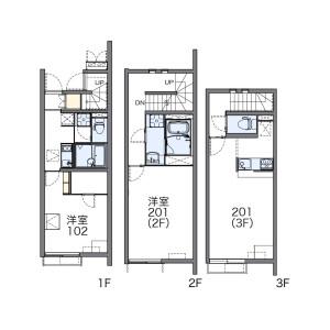 1LDK Apartment in Naritahigashi - Suginami-ku Floorplan