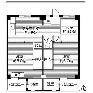 横須賀市浦上台-3DK公寓大廈 房間格局