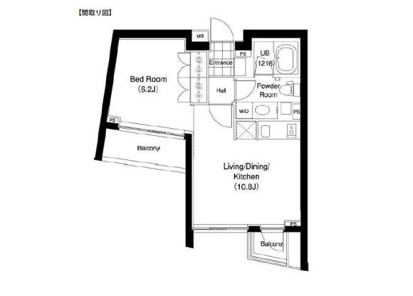 1LDK 맨션 to Rent in Shibuya-ku Floorplan