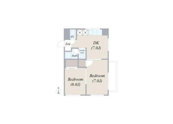 在杉並区内租赁2DK 服务式公寓 的 楼层布局