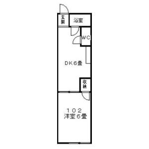 1DK Apartment in Honkomagome - Bunkyo-ku Floorplan