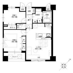2LDK {building type} in Okinacho - Yokohama-shi Naka-ku Floorplan
