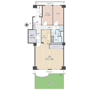 2SLDK {building type} in Shimmatsudo - Matsudo-shi Floorplan