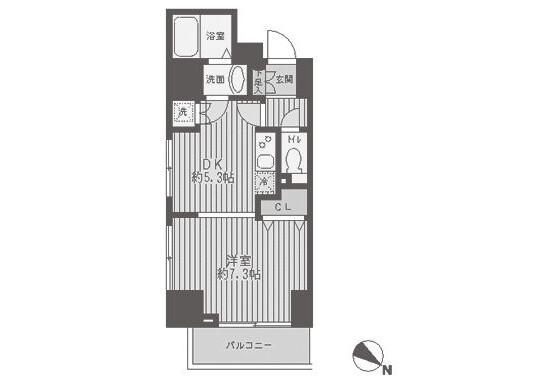 1DK Apartment to Rent in Ota-ku Floorplan