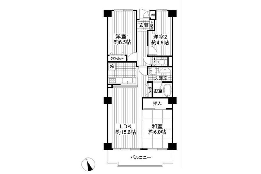 3LDK Apartment to Buy in Yokohama-shi Hodogaya-ku Floorplan