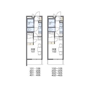 1K Apartment in Katsuyamaminami - Osaka-shi Ikuno-ku Floorplan