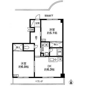 2DK Mansion in Maenocho - Itabashi-ku Floorplan