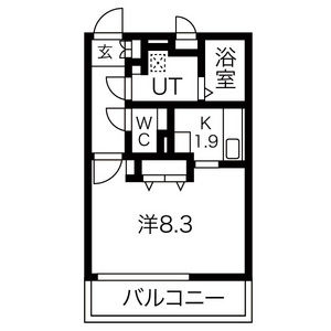1K Mansion in Motoshibatahigashimachi - Nagoya-shi Minami-ku Floorplan