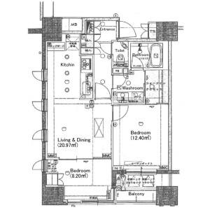 2LDK {building type} in Ginza - Chuo-ku Floorplan