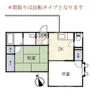 横濱市港北區大曽根-2DK公寓 房間格局