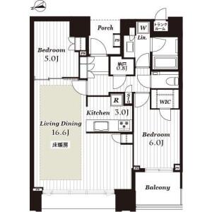 2LDK Mansion in Harumi - Chuo-ku Floorplan