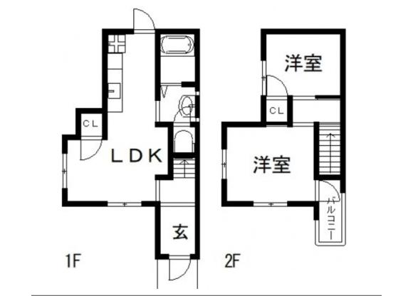 2LDK House to Rent in Higashiosaka-shi Floorplan