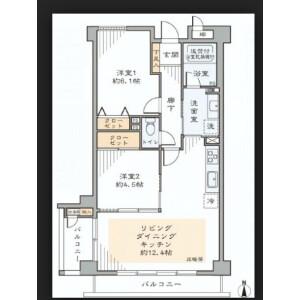 2LDK Mansion in Wakamatsucho - Shinjuku-ku Floorplan