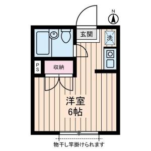 1R 아파트 in Nishisugamo - Toshima-ku Floorplan
