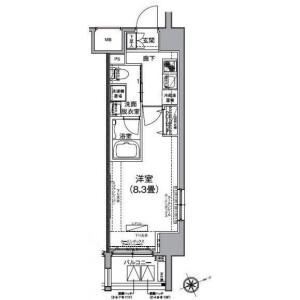 港区海岸(3丁目)-1K公寓大厦 楼层布局