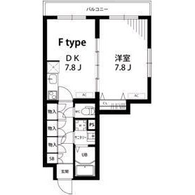 1LDK Apartment in Kamiikedai - Ota-ku Floorplan