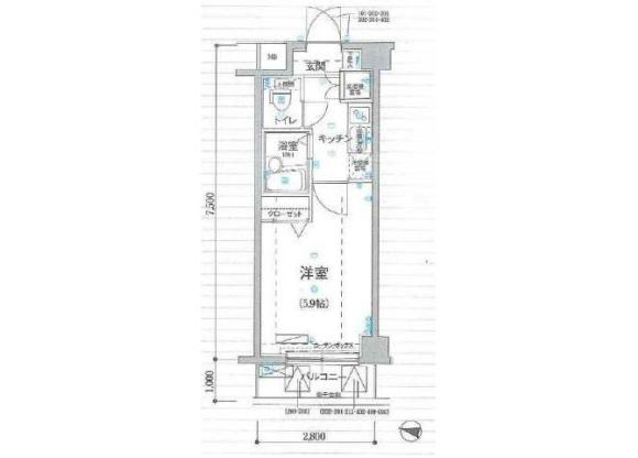 1K Apartment to Rent in Shinjuku-ku Floorplan