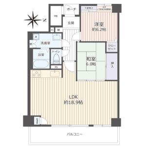 2LDK {building type} in Higashikozucho - Osaka-shi Tennoji-ku Floorplan