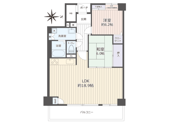 2LDK Apartment to Buy in Osaka-shi Tennoji-ku Floorplan