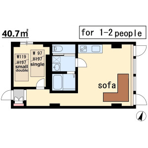 1LDK Mansion in Motomachidori - Kobe-shi Chuo-ku Floorplan