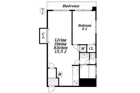 在Minato-ku內租賃1LDK 公寓 的房產 房間格局
