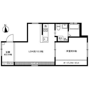 1LDK Apartment in Nishigokencho - Shinjuku-ku Floorplan