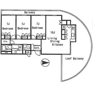 3LDK Apartment in Seta - Setagaya-ku Floorplan