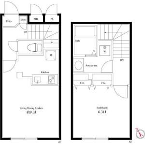 1LDK Apartment in Hakusan(2-5-chome) - Bunkyo-ku Floorplan