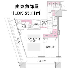 新宿区 西新宿 1LDK {building type} 間取り