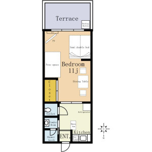 Flex Apartment Yokohama(Service apartment 6-12months) - Serviced Apartment, Yokohama-shi Nishi-ku Floorplan
