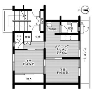 2DK Mansion in Honjo - Kikugawa-shi Floorplan