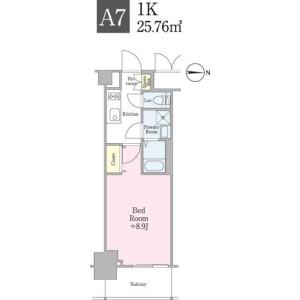 新宿區新小川町-1K公寓大廈 房間格局