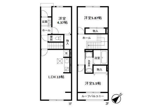 3LDK Terrace house to Rent in Saitama-shi Nishi-ku Floorplan