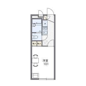 奈良市学園中-1K公寓 房間格局