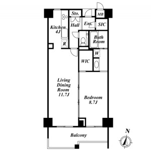 品川区上大崎-1LDK公寓大厦 楼层布局