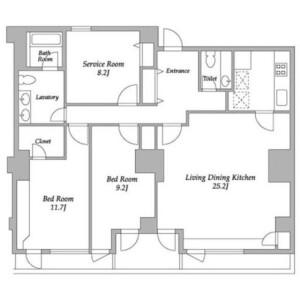 3LDK Mansion in Hiroo - Shibuya-ku Floorplan