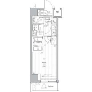 品川區北品川(1〜4丁目)-1K公寓大廈 房間格局