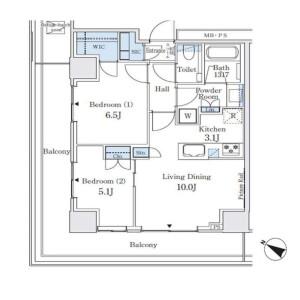 2LDK Mansion in Hanasakicho(4-7-chome) - Yokohama-shi Nishi-ku Floorplan