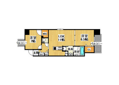 2LDK Apartment to Rent in Osaka-shi Chuo-ku Floorplan