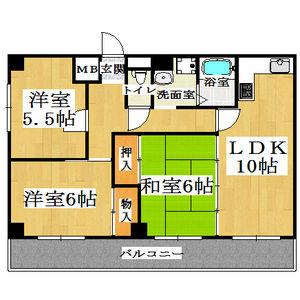 3LDK Apartment in Omiyacho - Nara-shi Floorplan