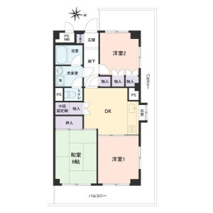 3DK Apartment in Nishihokima - Adachi-ku Floorplan
