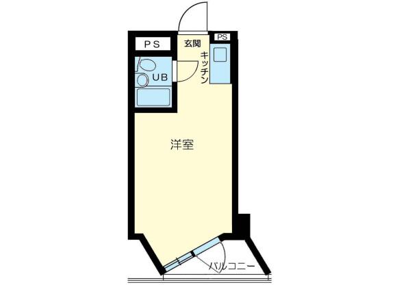 1R Apartment to Rent in Minato-ku Floorplan