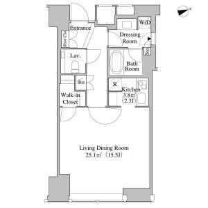 1R Apartment in Nishishinjuku - Shinjuku-ku Floorplan