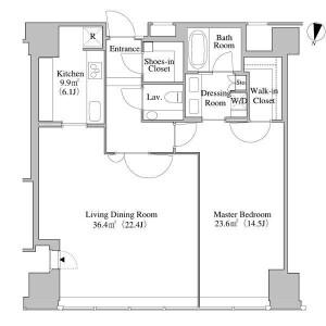 1LDK Apartment in Nishishinjuku - Shinjuku-ku Floorplan