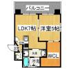 在大阪市淀川区内租赁1LDK 公寓大厦 的 楼层布局