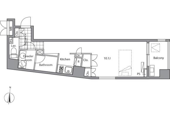 在丰岛区内租赁1K 公寓大厦 的 楼层布局