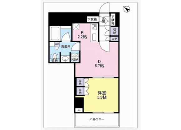 1DK Apartment to Rent in Shibuya-ku Floorplan