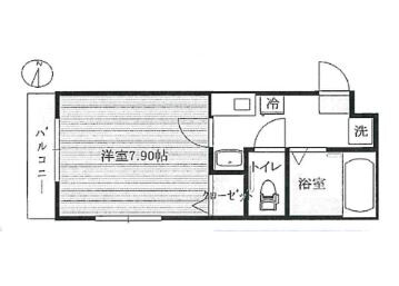 1K Apartment to Rent in Saitama-shi Urawa-ku Floorplan