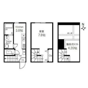 世田谷區等々力-1SK公寓 房間格局