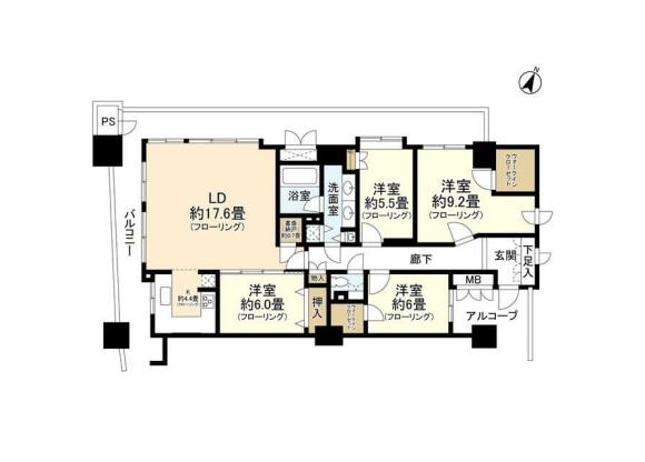 4LDK Apartment to Rent in Yokohama-shi Naka-ku Floorplan